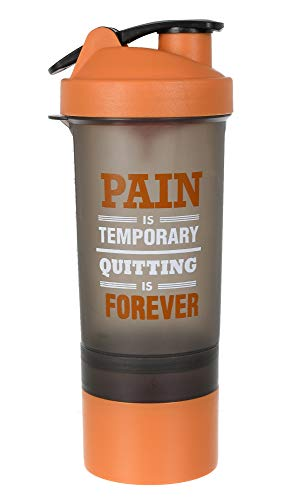 Kuber Industries Classic Shaker Bottle Perfect for Protein Shakes and Pre Workout with Pill Organizer and Storage for Protein Powder (Orange)