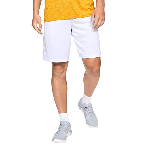 Under Armour Mens Tech Graphic Logo Sports Shorts - White - XL