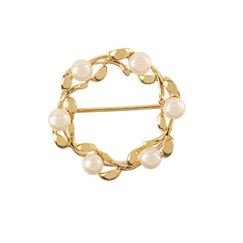 Too Marvellous Broche de Corona de Perlas cultivadas en Oro Amarillo de 9 Quilates