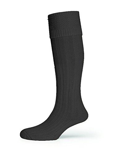 HJ Hall Herren Socken für den Alltag Kniestrumpf, Einfarbig Elfenbein Gebrochenes Weiß Gr. X-Large, Schwarz - Schwarz