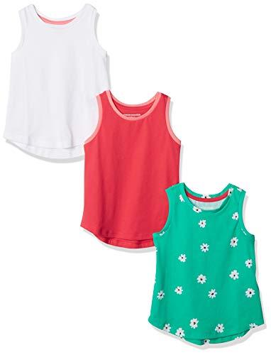 Amazon Essentials Girls' 3-Pack Tank Top Chaleco de plumón, Paquete de 3 Flores Verde/Rosa/Blanco, L, Pack de 3