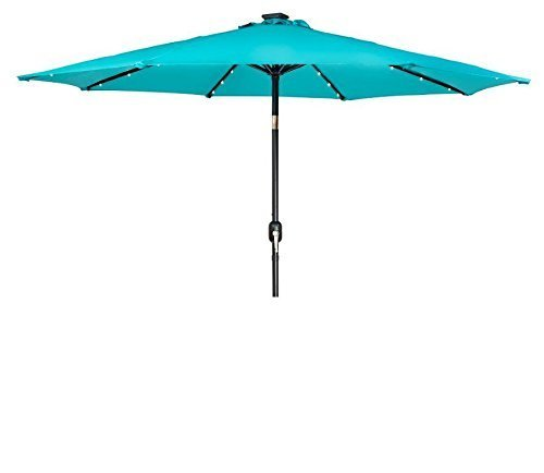 Trademark Innovations Deluxe Solar Powered LED Lighted Patio Umbrella, 9', Peacock Blue