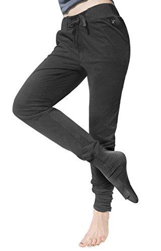 Panttoo. Pants That End Cold Feet Too. Pantalón Señora para Mujer Pantalones de Chándal Casuales para Danza Fitness Pilates Yoga Gym (Negro, XS 34-36)