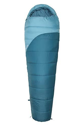 Mountain Warehouse Sac de Couchage Summit 250-22 cm x 40 cm, Forme Momie Bleu Canard Zip à Gauche - Longueur Standard