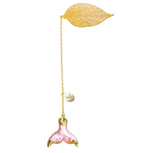 Handmade Gold Leaf Metal Bookmark,for Kids and Women with Pearl Stars Tassel(Mermaid Design)