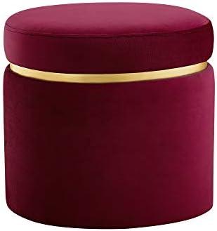 Amazon Brand Rivet Asher Oval Upholstered Storage Ottoman