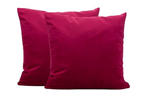 Aplus1 Fundas de cojín de terciopelo cuadradas de color liso, funda para cojín de sofá, dormitorio, casa, decoración, fabricada en Italia (rosa oscuro, 40 x 40 cm)