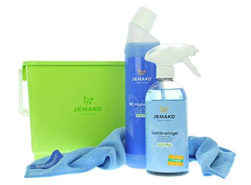 Jemako Set | Sanitärgrundreiniger (500 ml-Flasche) | WC-Hygiene-Gel (750 ml-Flasche) | Profituch Plus S (35 x 40 cm) | Wascheimer | inkl. Sinland feinmaschiges Wäschenetz