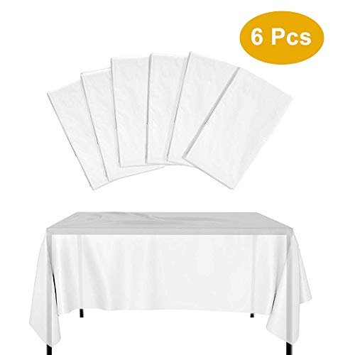 Kbnian Tischdecke Einweg [6 Set], 137 * 274 weiße Tischdecken für große Tische, Pe Plastik-Einweg-Tischdecken für Party-Bankette