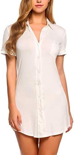 Avidlove Womens Sleep Shirt Sexy Sleepwear Short Sleeve Button Front Nightshirts S White product image
