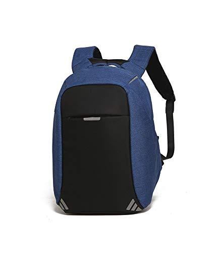 LOCKBAG Mochila antirrobo para portátil de negocios con puerto de carga USB, resistente al agua, se adapta a la mochila de ordenador portátil de 15,6 pulgadas para trabajo, universidad (azul)