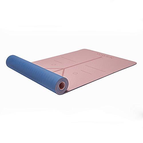 Colchoneta de Yoga, Esterilla Yoga, Tapete de Yoga, 6mm TPE Yoga Mat, Estera Yoga Ecológica de Ejercicios Antideslizante Esterilla de Entrenamiento para Pilates con Sistema de Alineación Corporal