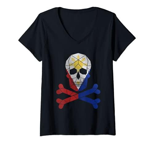 Womens Filipino Shirt Barong Women Barong Tagalog for Women Skull V-Neck T-Shirt
