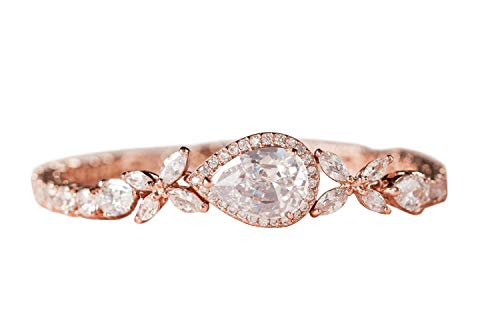 SWEETV Cubic Zirconia Teardrop Tennis Bracelets for Wedding Bridal Jewelry, Crystal Rhinestone Bracelets for Brides,Bridesmaid, Women, Rose Gold
