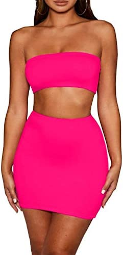 SKYVOICE Women s Sexy 2 Piece Outfits Tube Crop Top Skirt Set Bodycon Mini Dress Hot Pink product image