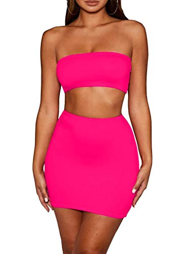 SKYVOICE Women's Sexy 2 Piece Outfits Tube Crop Top Skirt Set Bodycon Mini Dress Hot Pink