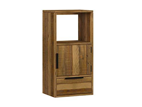 Woodkings® Wandregal Auckland aus recyceltem Pinienholz 1Tür/1Schub/1Fach, Hängeregal, passend zum TV Lowboard, Holzmöbel, Wohnwand Modul, Regalsystem, Holzregal, Hängeregal