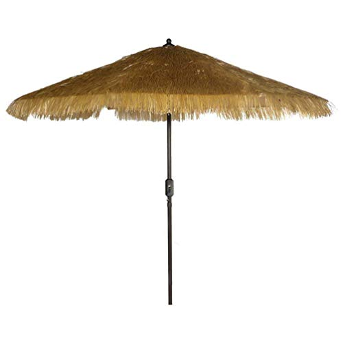 9' 8 Ribs Thatch Tiki Umbrella with Crank and Auto Tilt Aluminum Outdoor Patio Market Umbrella (Thatched Tiki, Beige)