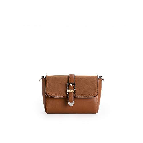 PACO MARTINEZ | Bolso Flap Mini Hebilla Color marrón | 13x17,5x7 | Pequeño