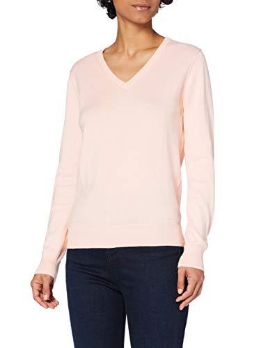 Marca Amazon - MERAKI Jersey de Algodón Mujer Cuello Pico, Rosa (Pale Pink), 38, Label: S
