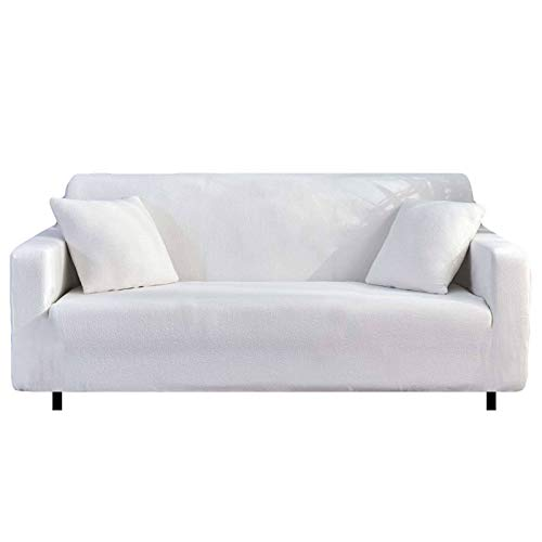 HALOUK Stretch Sofa Slipcovers Waterproof,Sofa Covers for Dogs 3 Cushion Couch Spandex Furniture Protector with Elastic Bottom Couch Cover for Living Room-White-3 Seater (190-230cm)