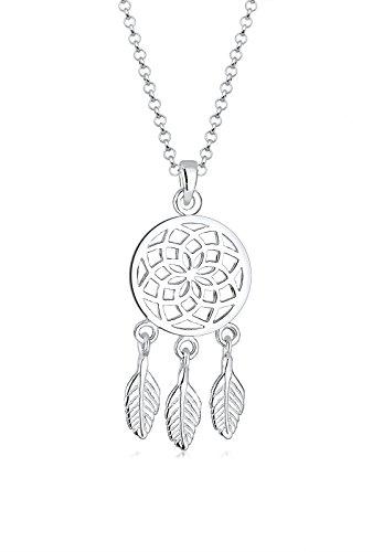 Elli Halskette Damen mit Traumfänger Feder Anhänger Boho in 925 Sterling Silber