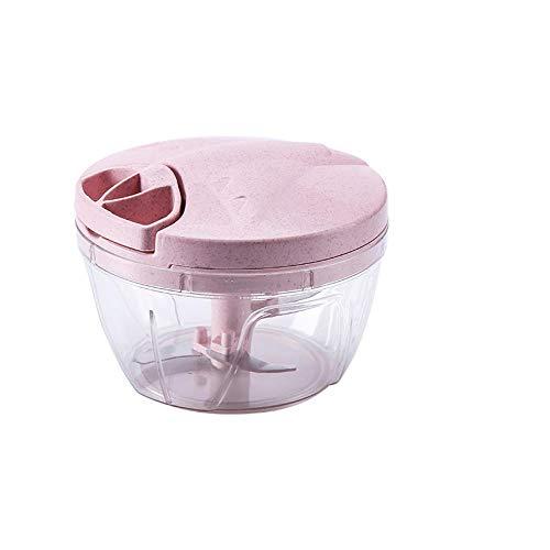 Lonfenner xxnswy uiensnijder uien-knoflook-groenteschredder, geschikt voor alle soorten ingrediënten, handmatig trekkoord, huishoudmolen, keukenmachine, hakker (roze-blauw)