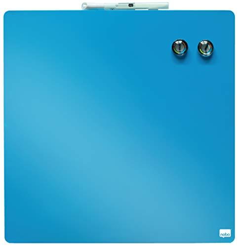 Rexel 1903873 Tableau Blanc Magnétique Personnel Effaçable à Sec 360 x 360 mm Design Carré Sans Cadre, Marqueur Aimants avec Kit de Montage Bleu