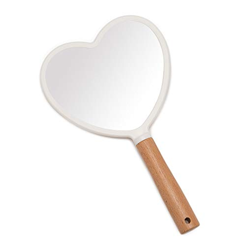 YEAKE Hand Mirror,Travel Makeup Mirror,Portable Lovely Wooden Vanity Mirror with Handle to Hang(Heart)