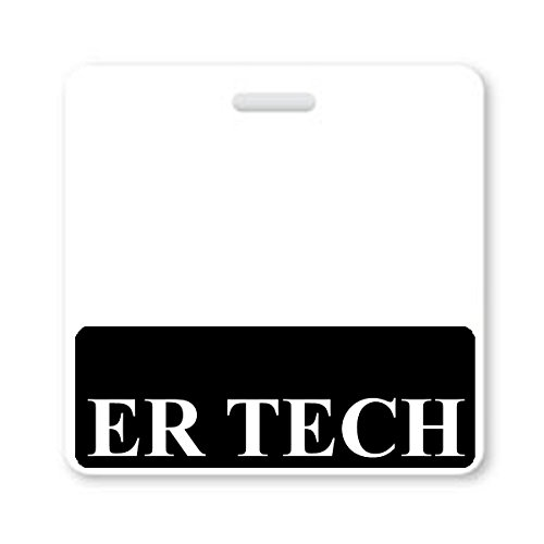 ER TECH Badge Buddy - Heavy Duty Horizontal Badge Buddies for Emergency Room Technicians - Spill & Tear Proof Cards - 2 Sided USA Printed Quick Role Identifier ID Tag Backer by Specialist ID