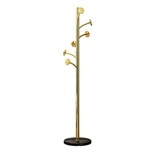 YERT Perchero de pie, Perchero en Forma de árbol, con 6 Ganchos, fácil de Montar, Perchero para Dormitorio, Oficina, Pasillo, Entrada (Dorado)