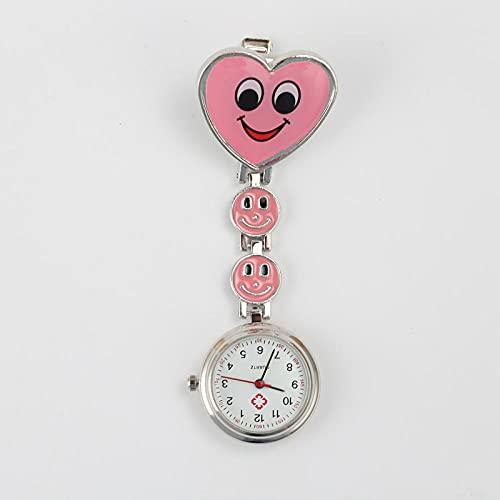 LLRR Paramédico Doctores Reloj Médico,Sonrisa en Forma de corazón Que cuelga la Mesa de la Enfermera, Mesa de Cadena Digital médica-Rosa,Reloj de Enfermera