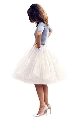Tulle Skirt,Women's Midi Tulle Tutu Skirt Fluffy Princess Five Layers A line Party Prom Underskirt (Ivory)