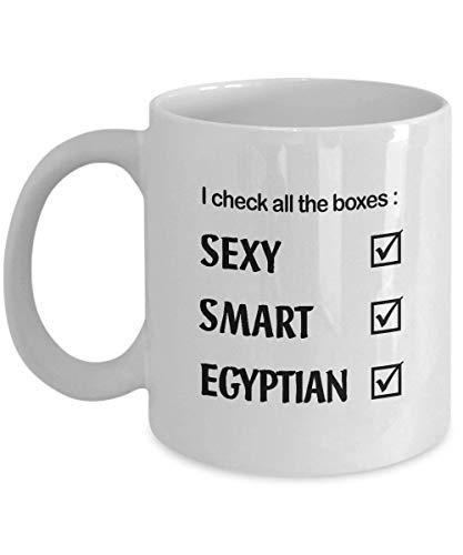 N\A aza de café egipcia Inteligente y Sexy, Regalo Egipcio Divertido para Hombres y Mujeres en cumpleaños, Navidad, Regalos, Taza de té, café, cerámica Blanca