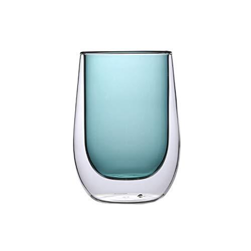 Taza de vidrio de doble capa gruesa taza de café anti-quemaduras, taza de té para oficina y hogar, taza de agua resistente al frío y al calor (tamaño: 200 ml, color: azul)
