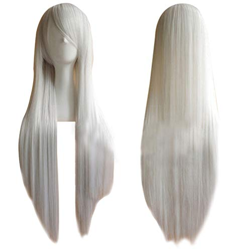 """TopWigy White Cosplay Wig Long Straight Hair Heat Resistant Costume Party Annime Wigs (White 32"""")"""