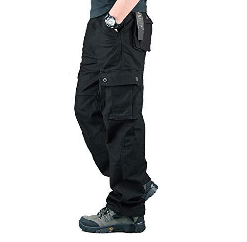 Hommes Pantalon Cargo Pantalon de Travail Style Militaire, Casual Pantalon Multi Poche Cargo Sports De Combat Pantalons en Coton Home, Noir, 46 (Tag size 38)