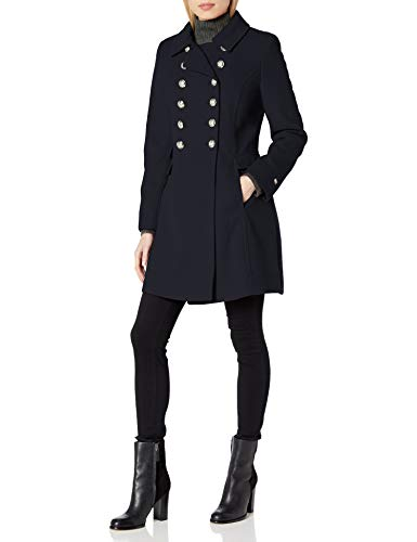 Tommy Hilfiger Women's Wool Blend Military Button Coat, Navy, SMALL