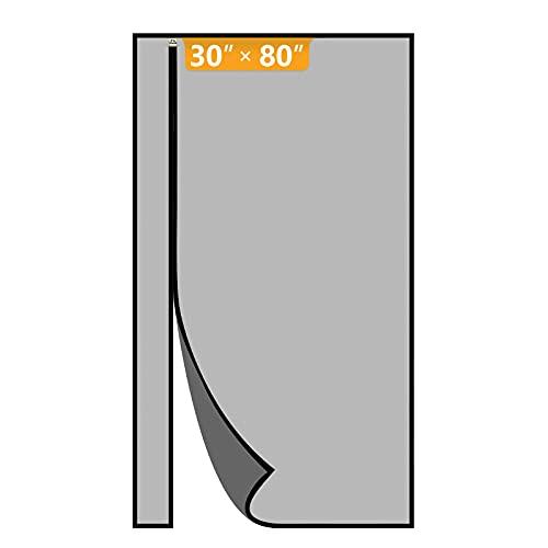 Yotache Reversible Left Right Side Opening Magnetic Screen Door Fits Door Size 30 x 80, Narrow Durable Fiberglass Mosquito Mesh Curtain