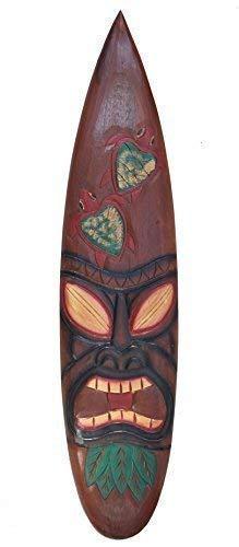 Interlifestyle Tiki Tabla de Surf 100cm con Tortugas Motivo en Hawai Maui Estilo Tabla de Surf Letrero de Madera Decoración