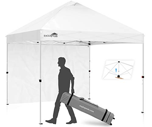EAGLE PEAK 10' x 10' Professional Commercial Pop Up Canopy Tent Instant MarketPlace Outdoor Canopy Easy Set-up Folding Shelter w/Zipper Attach Sunwall and 100 Sq Ft of Shade (White)