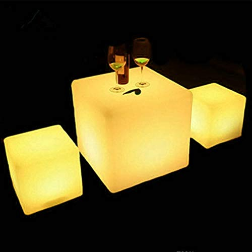 Magshion 16 Color Changing LED Light Up Furniture Chair Cube Ball Night Light Bar Stool Serving Tray Bucket Pot (16-inch Cube)