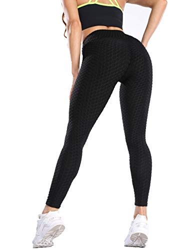 SHAPERIN Anti-Cellulite Kompressionshose Damen Yoga Sport leggings Hohe Taille Jogginghose Honeycomb geraffte Leggins für Training Butt Lift Fitness Hose Workout Laufhose Sport Tights(Schwarz,S)