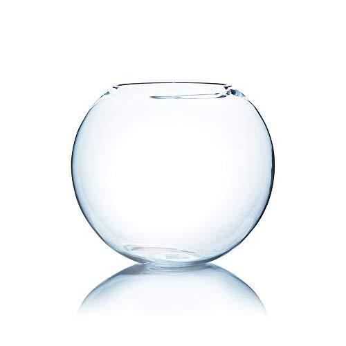 "WGV Large Bowl Glass Vase, Diameter 16"", Height 14"", Clear Elegant Huge Round Bubble Vase Jar, Floral Container, Planter Terrarium for Wedding Party Event Home Office Decor, 1 Piece"