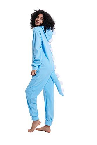 Erwachsene Kinder Unisex Cartoon Dinosaurier Mit Kapuze Reißverschluss Einteiliger Overall Cosplay Pyjamas mit Taschen (Hellblau, XS passt Höhe 128-148CM)