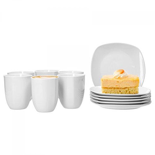 Van Well Frühstücksservice Lilli, 12-TLG. für 6 Pers, Kaffeebecher 350 ml + Frühstücksteller, 190 x 190 mm, edles Markenporzellan, glänzend, Geschirrset, klassisch weiß, quadratisch