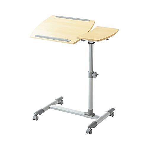 CYLQ bureauwagen kantelbaar voor computer met muismat, roltafel, draagbaar, in hoogte verstelbaar, 60-95 cm, beige/zwart
