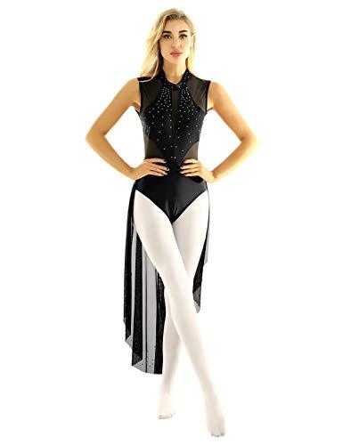 CHICTRY Vestido de Danza sin Mangas Mujer Vestido Largo de Malla Transparente con Diamantes Brillantes Maillot de Gimnasia Ritmica Negro X-Large