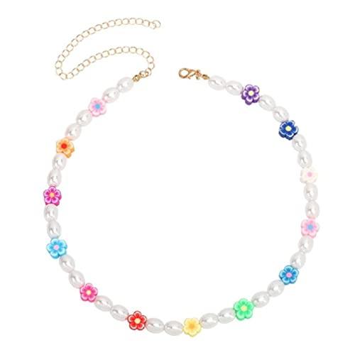 Ins Novità - Collana con perle e fiori, ideale come regalo per adulti, per il tè o per il bracciale, con perle