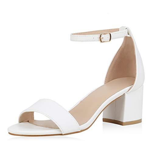 SCARPE VITA Klassische Damen Sandaletten Basic Wildleder-Optik Sommer Schuhe Blockabsatz Riemchensandaletten Absatzschuhe 177362 Weiss PU 38